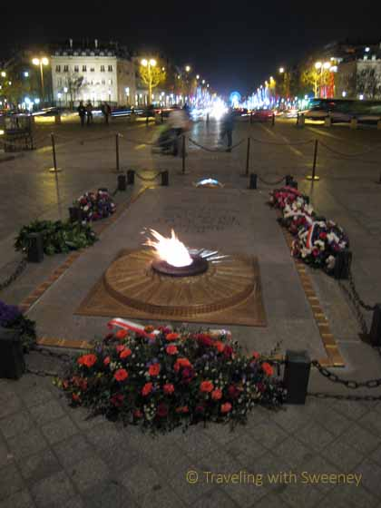 """Eternal flame at the Arc de Triomphe for the unknown soldier"""