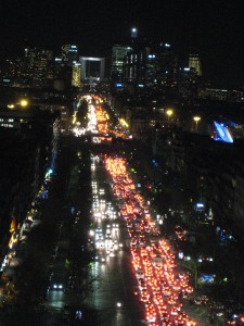 """View from the Arc de Triomphe at night"""