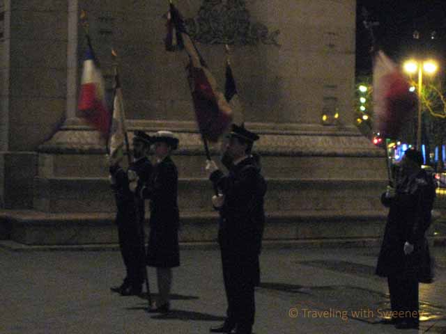 """Honor guards at the ceremony for the unknown soldier at the Arc de Triomphe"""
