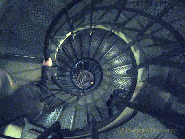 """Spiral staircase at the Arc de Triomphe in Paris"""