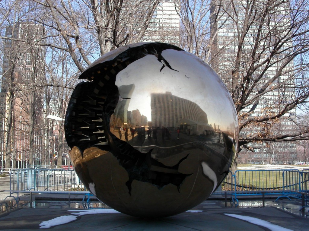 """""""Sphere within Sphere by Arnaldo Pomodoro at the United Nationa building in New York City"""""""