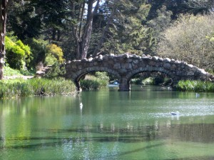 """Stow Lake Bridge at Golden Gate Park in San Francisco"""
