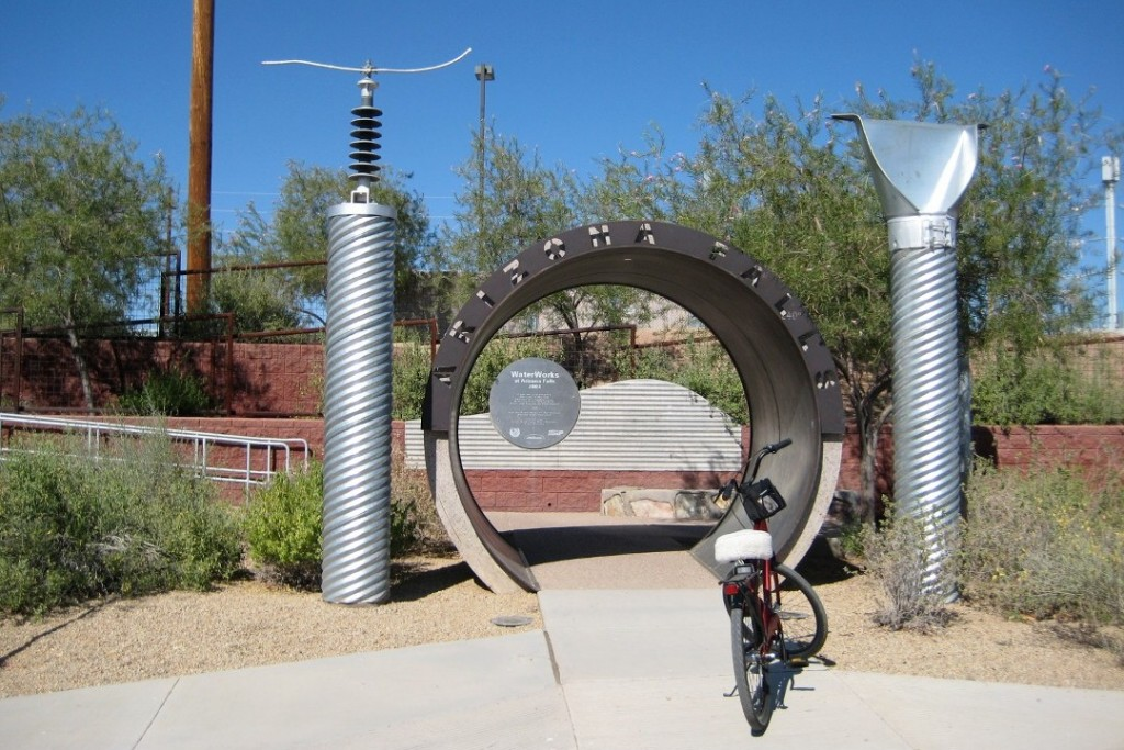 """Bicycle at the artistic entrance to Arizona Falls, Phoenix"""