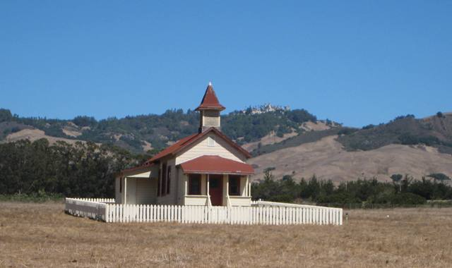 """View of Hearst Castle from San Simeon School House"""
