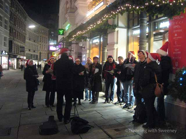 Carolers in Hamburg getting into the spirit of Christmas in Germany
