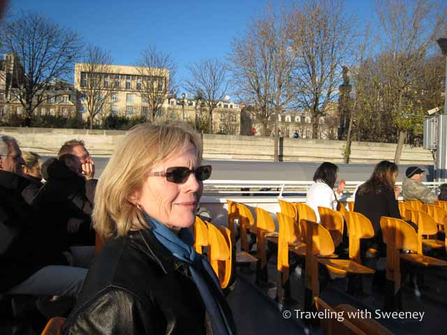 On a tour boat on the River Seine in Paris, France