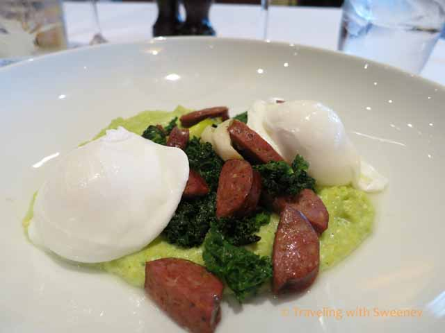 Polenta Verde with Sausage and Poached Eggs
