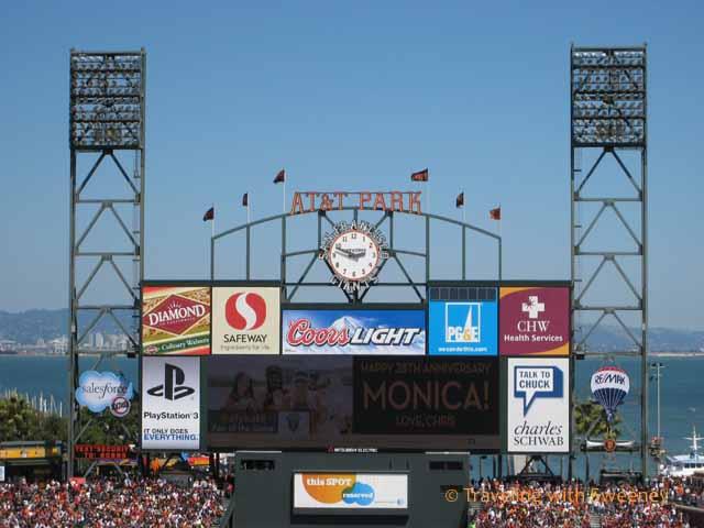 Scoreboard at AT&T Park