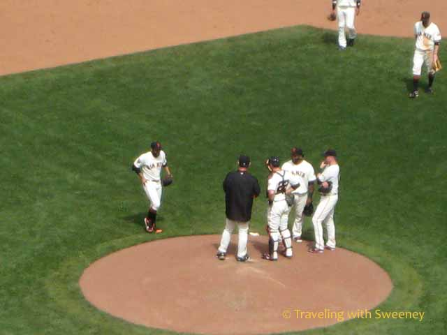 Pep talk on the field at AT&T Park