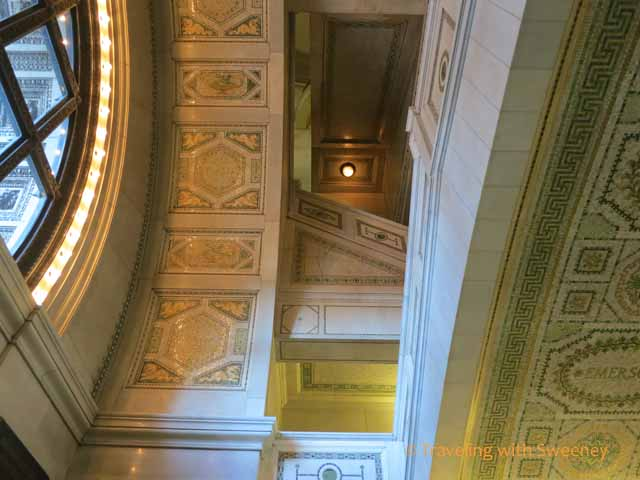 Staircase and Ceiling detail at Chicago Cultural Center