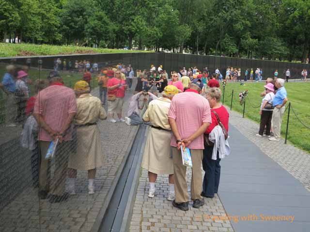 Visitors at Vietnam Veterans Memorial Wall