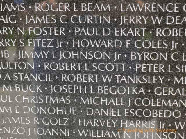 Names on Vietnam Veterans Memorial Wall