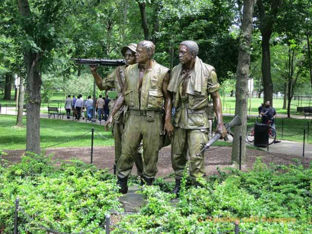 Three American Soldiers at Vietnam Memorial