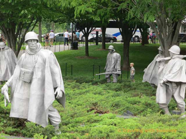 Korean War Veterans Memorial and child