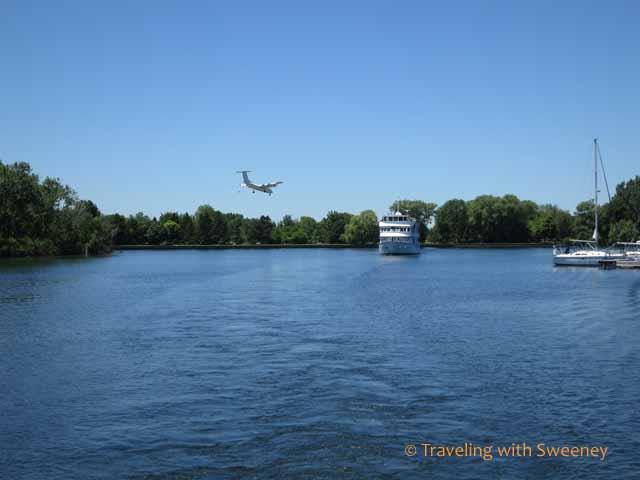 Plane landing at Billy Bishop Airport