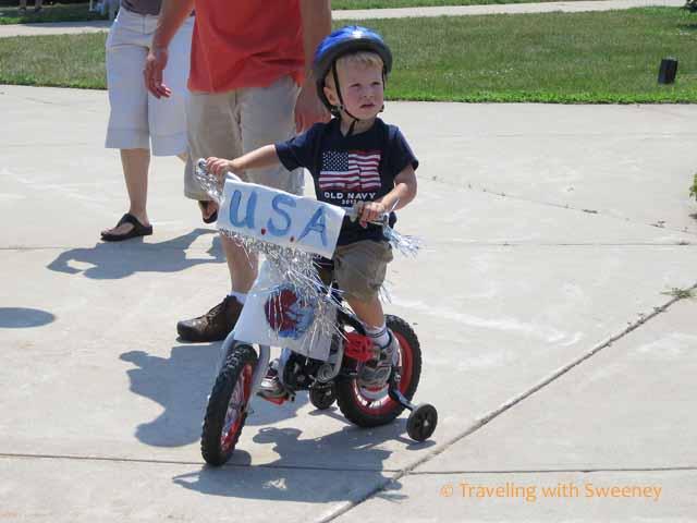 boy on bike Kiddie Bike & Pet Parade, Marinette