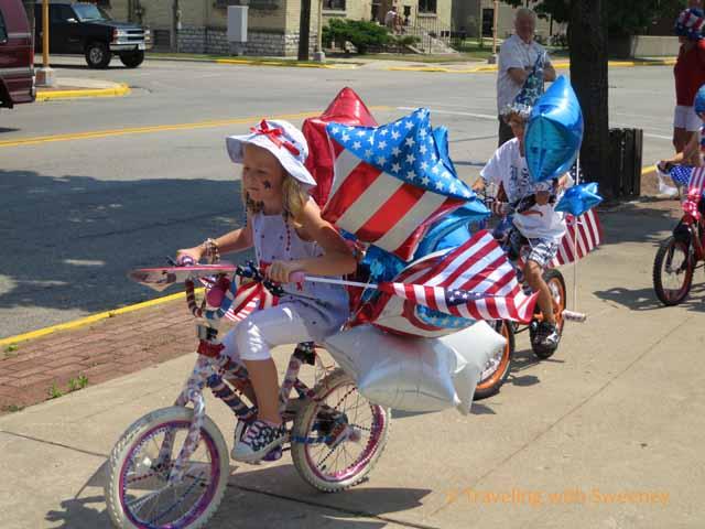 girl on bike in Kiddie Bike & Pet Parade, Marinette
