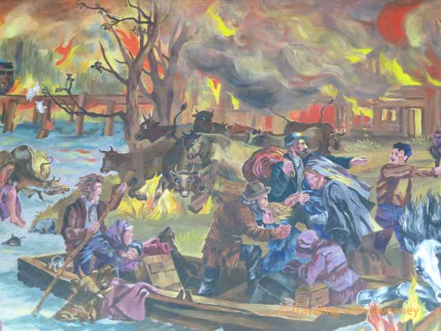 Mural in Peshtigo Fire Museum depicting scenes from the fire of 1871