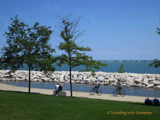 Biking along the lakefront in Milwaukee
