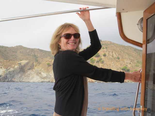 Cathy Sweeney on boat