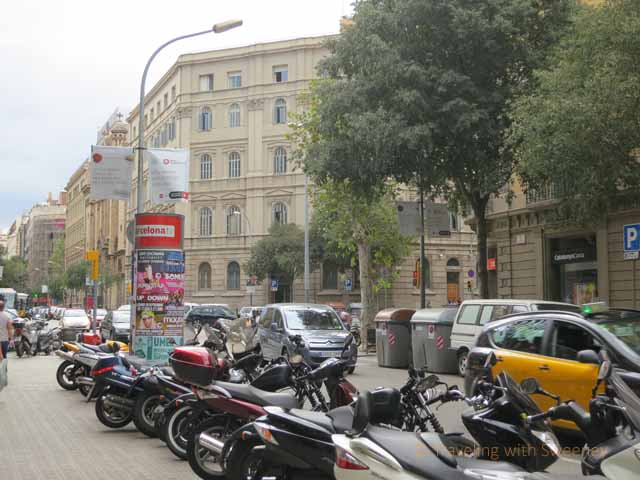 motorbikes and cars in Barcelona