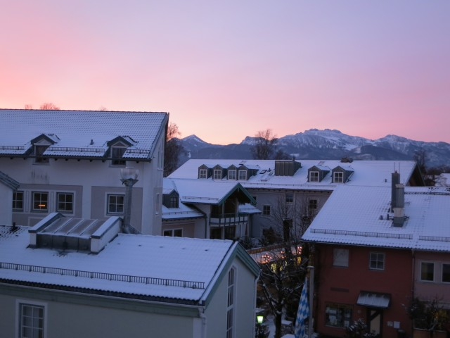 Bavarian sunrise -- Sunrise in Prien from Hotel Bayerhof