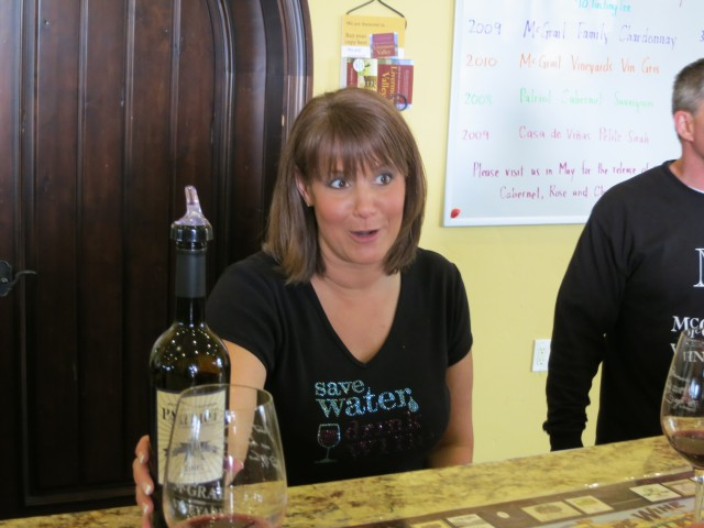"""Wine Server Kristen at McGrail Vineyards in Livermore, California"""