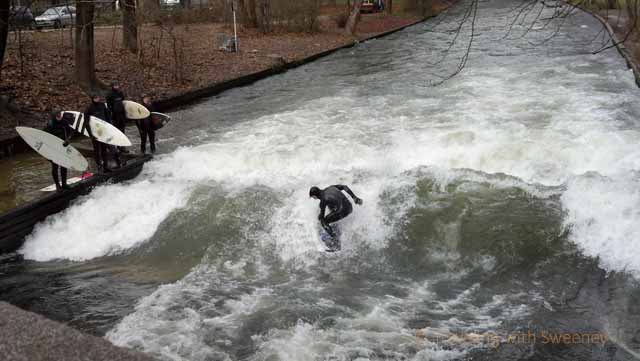 """Riding the Wave on the Eisbach in Munich"""