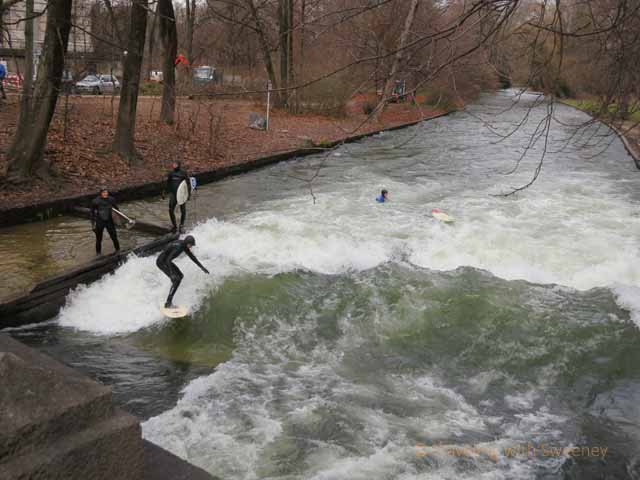 Jumping in the Eisbach to surf the wave