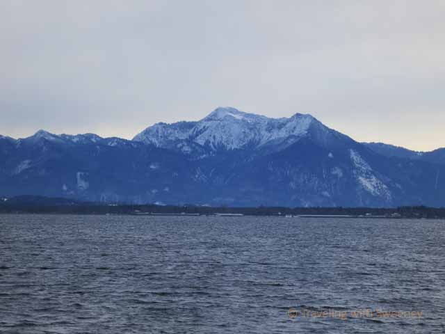 """Bavarian Alps seen from the ferry from Prien to Herrenchiemsee to visit King Ludwig's palace"
