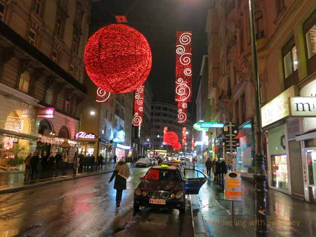"""Giant Red Ball Christmas Decoration on Rotenturmstrasse creating a romantic mood in Vienna"""