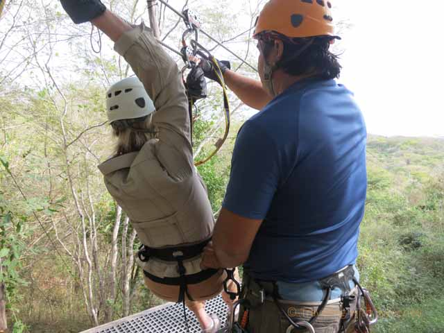 """Getting ready to zip line at Huana Coa Canopy Adventure"""