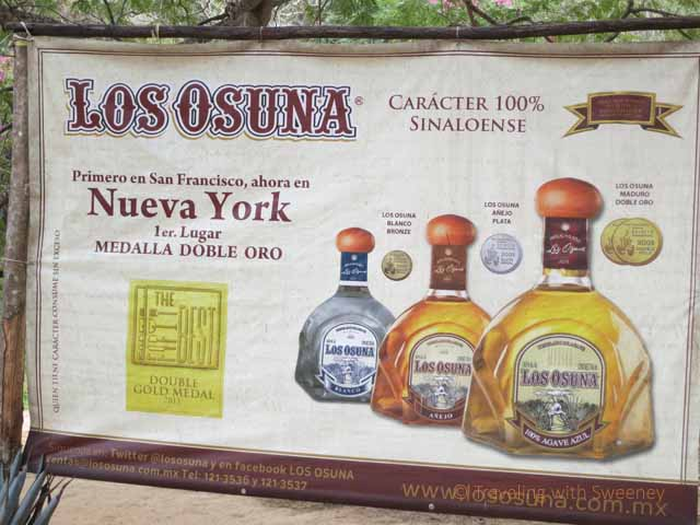 """Sign showing the three grades of tequila at Los Osuna in Sinaloa, Mexico near Mazatlan"""