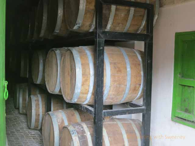 """Oak barrels used for aging the tequila at Los Osuna"""
