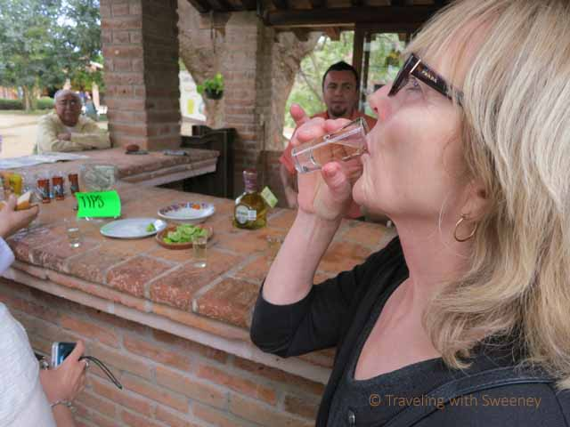 """Sampling tequila at Los Osuna tequila factory in Sinaloa, Mexico"""