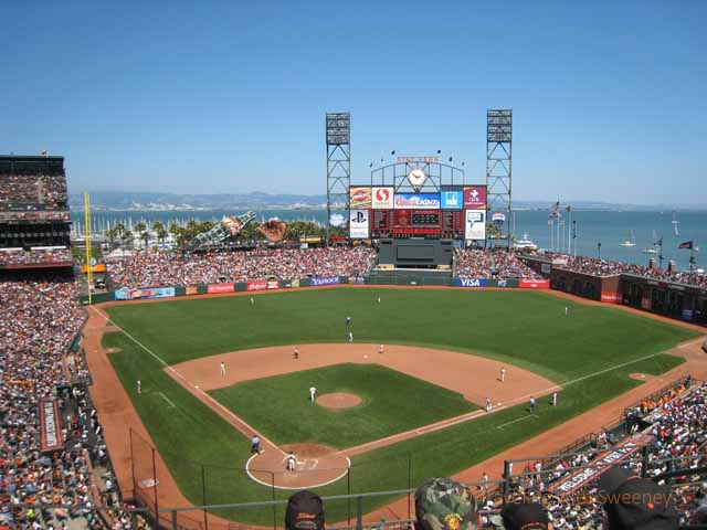 """San Francisco Giants playing at AT & T Park"""