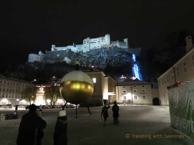 """Winter views of Hohensalzburg Fortress and funicular from Kapitelplatz (Chapter Square) in Altstadt"""