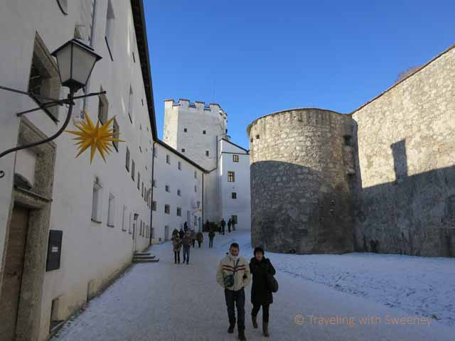 """Short walk between building of Hohensalzburg Fortress to the square and entrance"""
