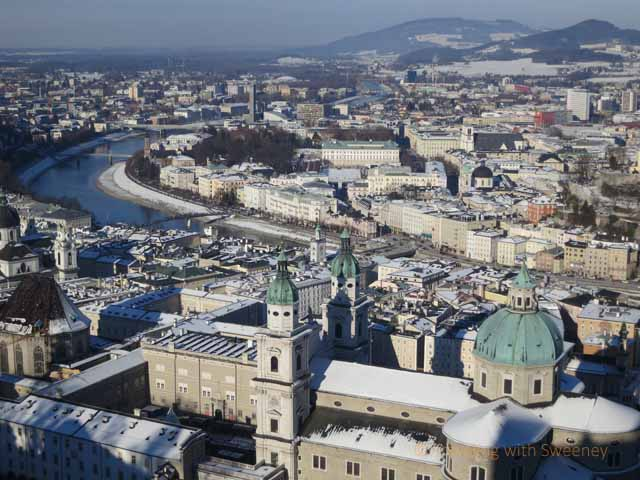 """View of beautiful Salzburg and the Salzach River from Hohensalzburg Fortress"""