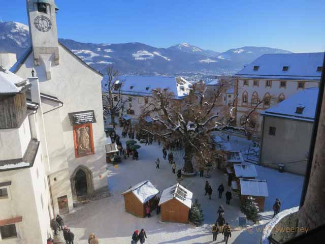 """""""The Hohensalzburg Fortres courtyard with St. George's Chapel and the Christmas market"""""""