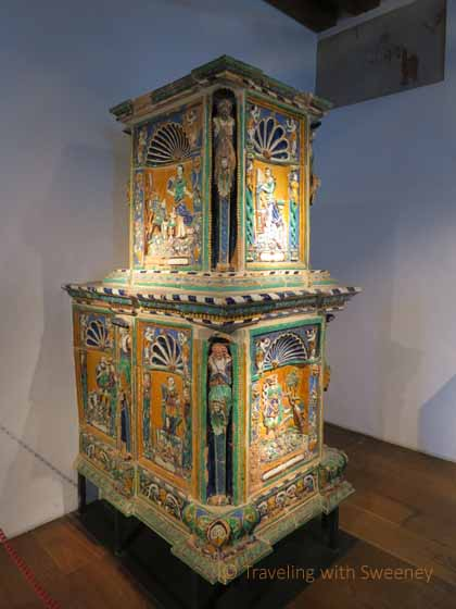 """Ornate ceramic stoves like this one were used to heat the interior of Hohensalzburg Fortress in Salzburg, Austria"""