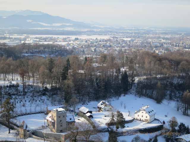 """Homes and countryside outside of Salzburg viewed from Hohensalzburg Fortress"""