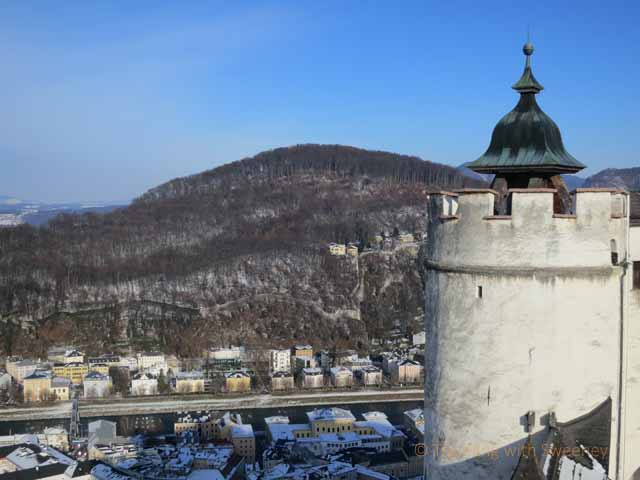 """Hohensalzburg Fortress tower and remaining part of defense wall built around Salzburg"""