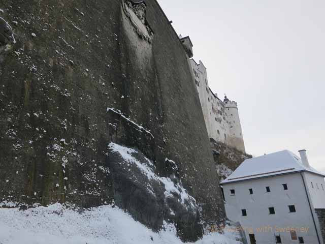 """A huge section of the old exterior wall of Hohensalzburg Fortress gives a sense of the structure's strength"""