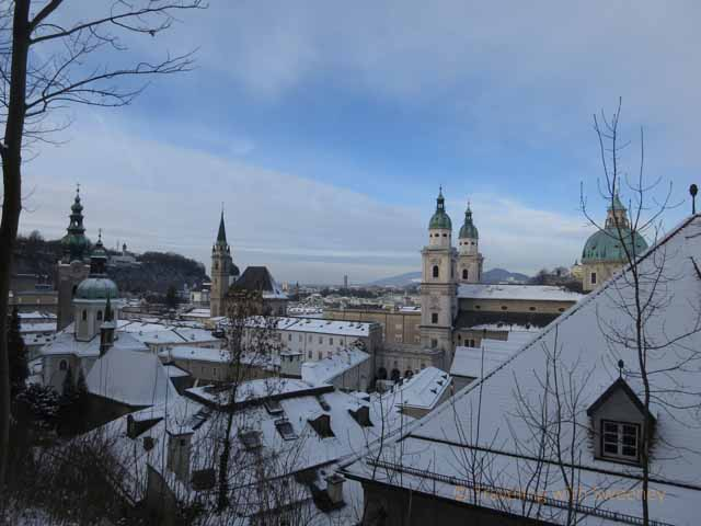 """Church towers and rooftops of Aldstadt Salzburg"""