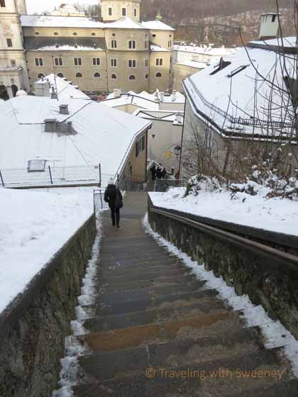 """Taking the steep stairs back down to Aldstadt from Hohensalzburg Fortress"""