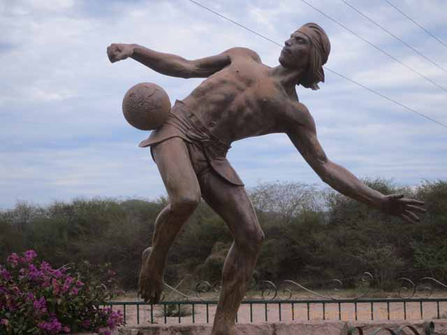 """""""Statue in El Quelite of Ulama player, a sport using a rubber ball dating back to 1600 B.C."""""""