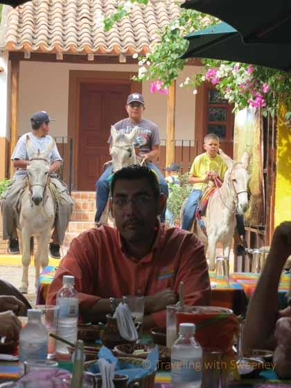 """""""Our guide, Julio Cervantes with El Quelite locals on burros"""""""