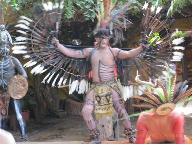 """""""Performers in indigenous costumes perform at El Meson de los Laureanos restaurant in El Quelite, Mexico near Mazatlan"""""""
