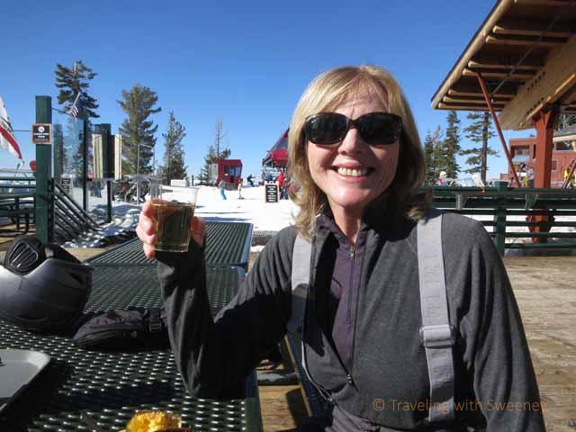 """Cheers! Refreshment at ski resort at North Lake Tahoe"""